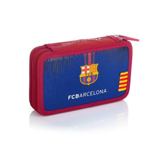 FC Barcelona két részes tolltartó, íróeszközökkel, 20,5x13x4,5cm